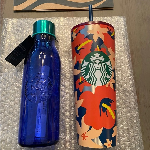 Starbucks Bundle Stainless Tumbler & Glass Bottle